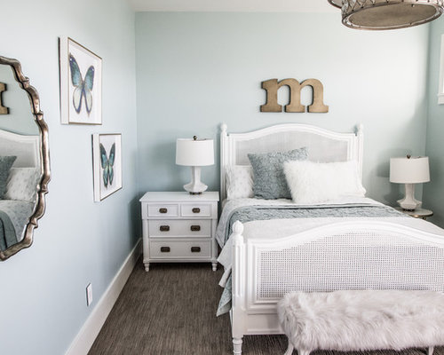 Mid Sized Cottage Chic Carpeted And Gray Floor Bedroom Photo In Salt Lake  City With