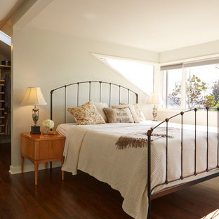Inspiration for a timeless dark wood floor bedroom remodel in Seattle with white walls