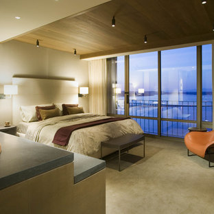 Bedroom - contemporary master carpeted bedroom idea in Seattle with beige walls