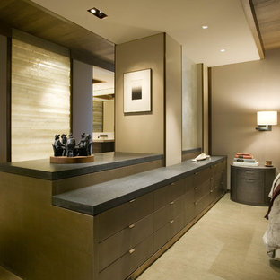 Photo of a contemporary master bedroom in Seattle with beige walls and no fireplace.