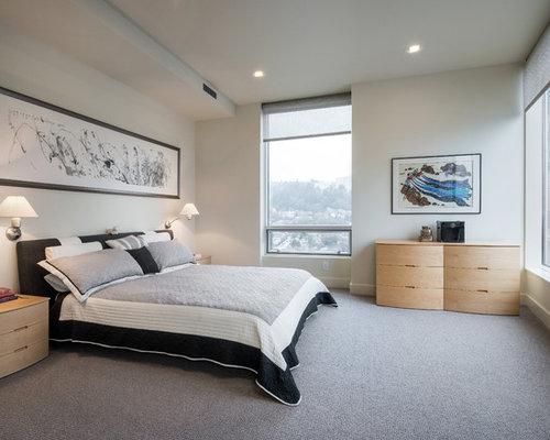 Bedroom Contemporary Carpeted And Gray Floor Bedroom Idea In Portland With Gray Walls