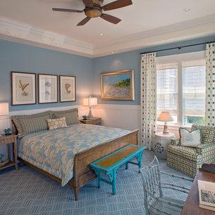ワシントンD.C.のビーチスタイルのおしゃれな寝室 (青い壁、青い床) のインテリア