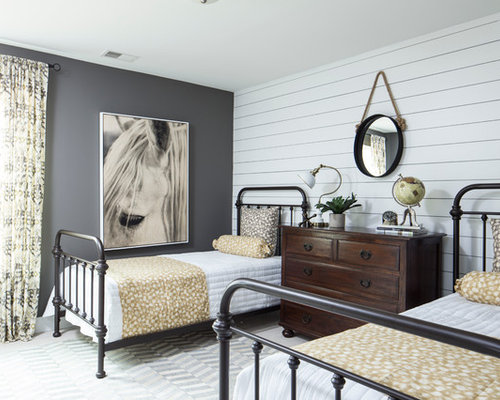 country guest bedroom photo in charleston with gray walls - Guest Bedroom Design