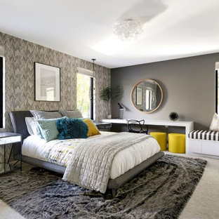 Inspiration for a contemporary carpeted and gray floor bedroom remodel in Minneapolis with gray walls
