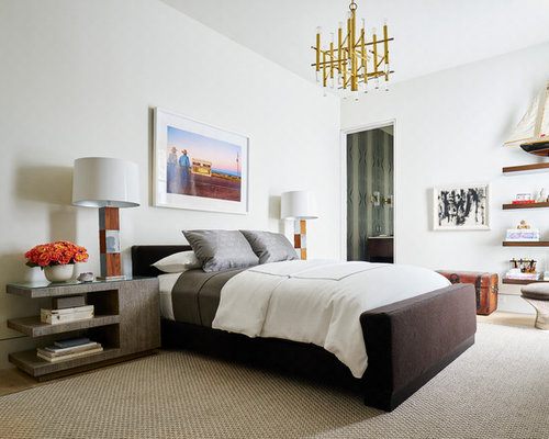 contemporary master bedroom idea in dallas with white walls and light hardwood floors - Houzz Bedroom Design