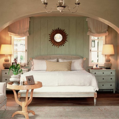 Cottage chic bedroom photo in Orange County with green walls