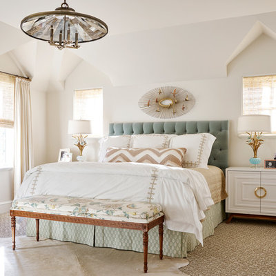 Transitional master carpeted bedroom photo in Dallas with beige walls