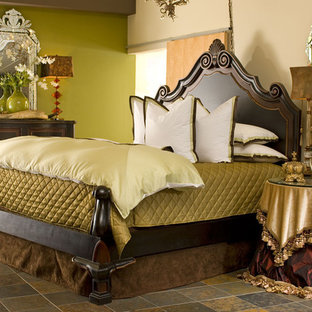 Large eclectic master ceramic floor bedroom photo in Other with green walls