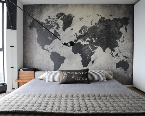 This Is An Example Of A Small Contemporary Master Bedroom In Vancouver With  Grey Walls,