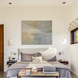 Ispirazione per una camera matrimoniale etnica con pareti bianche, pavimento in cemento e pavimento grigio