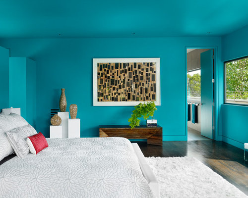 Example Of A Trendy Master Dark Wood Floor Bedroom Design In Austin With Blue Walls
