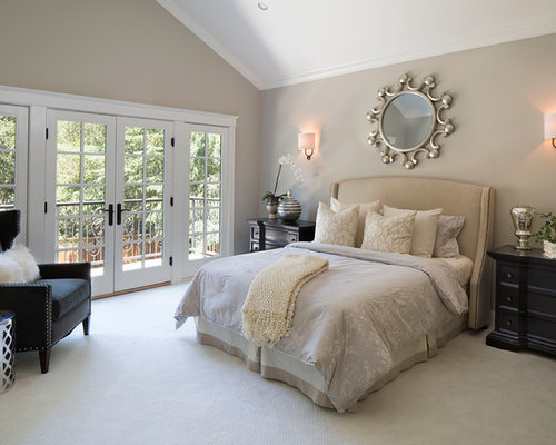 mid sized transitional carpeted bedroom photo in san francisco with gray walls - Gray Wall Bedroom Ideas