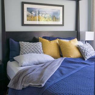Ispirazione per una piccola camera matrimoniale chic con pareti blu e parquet scuro