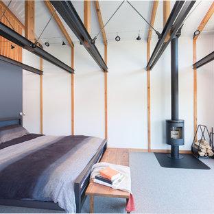 Foto de dormitorio tipo loft, actual, con paredes blancas, moqueta, estufa de leña, suelo gris y marco de chimenea de metal