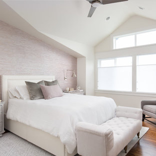 Bedroom - mid-sized transitional master medium tone wood floor bedroom idea in Seattle with purple walls