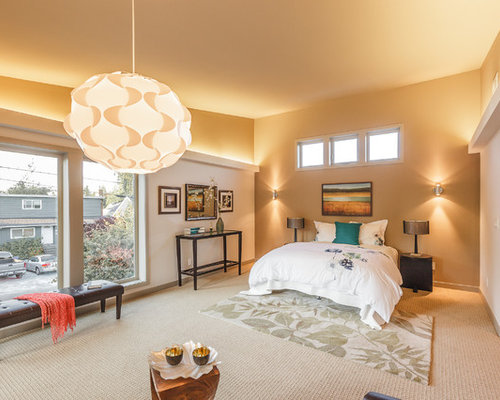 Trendy Bedroom Photo In Seattle With Beige Walls And Carpet