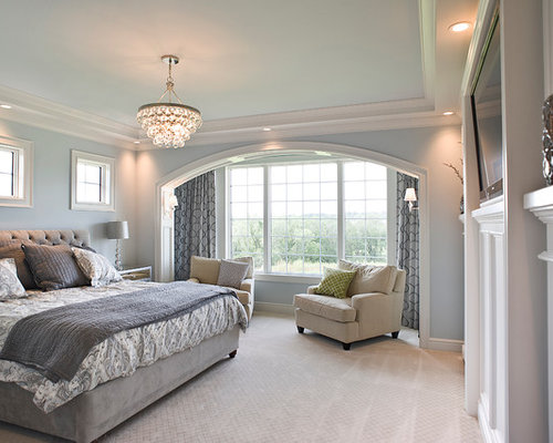 Trendy bedroom photo in los angeles with gray walls and a standard - Mist Bedroom Design Ideas Remodels Amp Photos Houzz