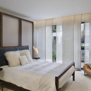 Immagine di una camera da letto contemporanea con parquet scuro