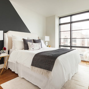 Design ideas for a medium sized contemporary guest bedroom in New York with multi-coloured walls and light hardwood flooring.