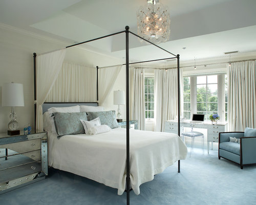 Example Of A Large Trendy Master Carpeted And Blue Floor Bedroom Design In  New York With