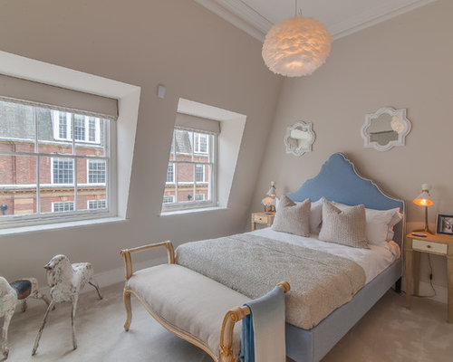 this is an example of a large classic guest bedroom in london with beige walls and - Bedroom Decor With Beige Walls