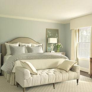 Inspiration för klassiska sovrum, med blå väggar