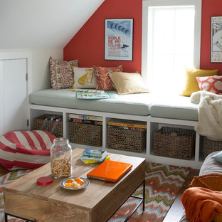 Photo of a mid-sized beach style guest bedroom in New York with red walls, dark hardwood floors, no fireplace and brown floor.