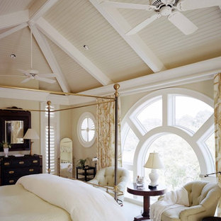 Inspiration for a large timeless guest carpeted bedroom remodel in Atlanta with beige walls