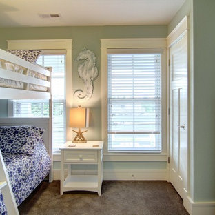 Bedroom - mid-sized coastal guest carpeted bedroom idea in Other with green walls and no fireplace