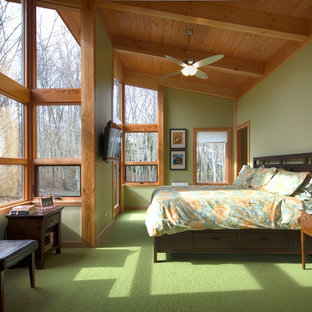 Large contemporary master bedroom in Seattle with green walls, carpet, no fireplace and green floor.
