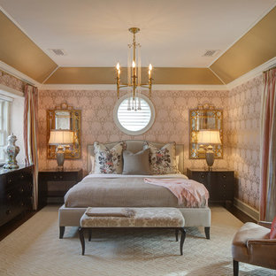 Inspiration for a timeless bedroom remodel in Chicago with pink walls