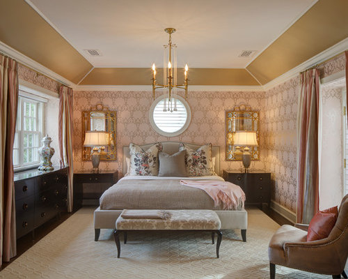 Sophisticated Bedroom with Pink Walls Ideas & Design Photos | Houzz