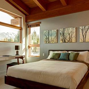 Imagen de dormitorio actual, sin chimenea, con moqueta y paredes grises