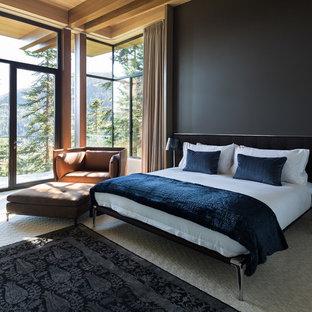 Diseño de dormitorio principal, actual, grande, con paredes beige, moqueta, marco de chimenea de piedra y suelo gris