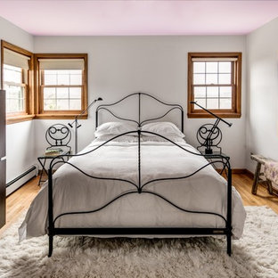 Example of an eclectic bedroom design in Boston with white walls