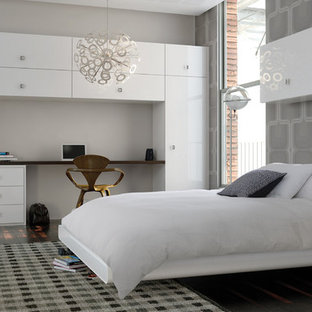 White Gloss Wardrobes In Grey Bedroom