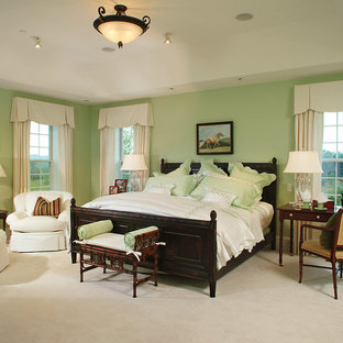 Elegant carpeted bedroom photo in Philadelphia with green walls