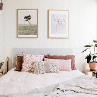Modelo de dormitorio escandinavo con paredes beige