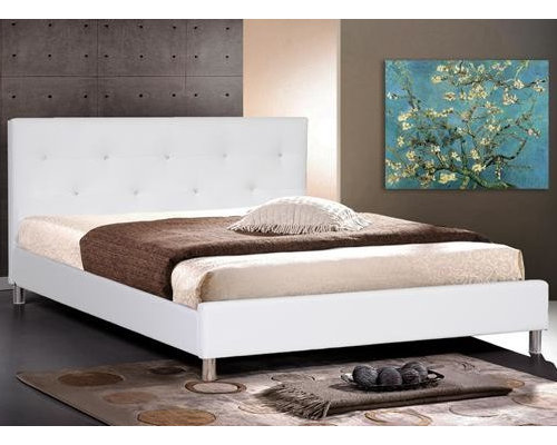 save photo eurolux furniture white leather modern queen size bed frame - Modern Queen Bed Frame