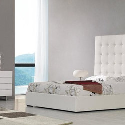 White Leather Tall Headboard Bed - Features:
