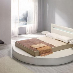White Leatherette Round Platform Bed - Features