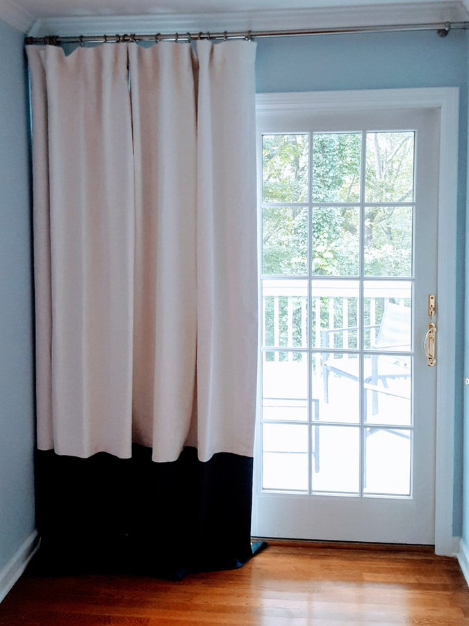 White Linen Drapes with Blackout lining