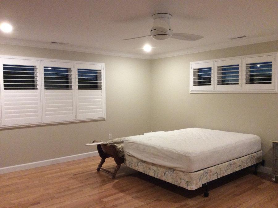 White Plantation Shutters - Bedroom