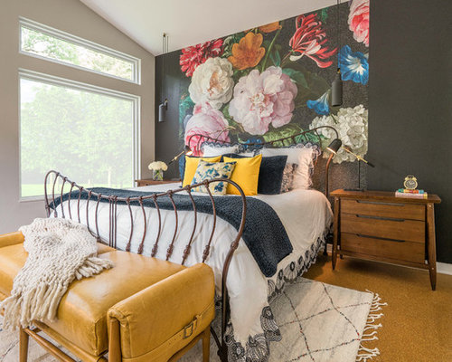 Eclectic cork floor and brown bedroom idea in Dallas with  multicolored walls 11 Best Bedroom Ideas Houzz