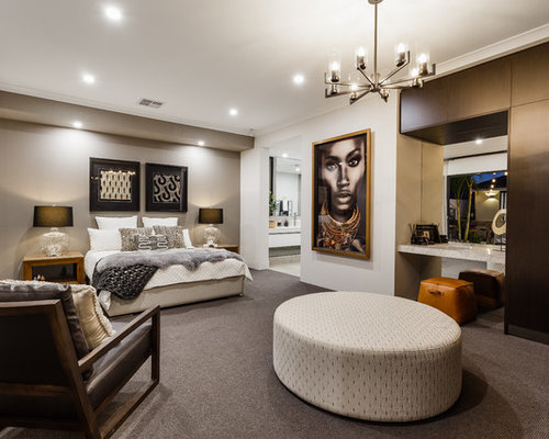 Design Ideas For A Contemporary Master Bedroom In Perth With Grey Walls,  Carpet, No