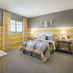 This is an example of a classic bedroom in Phoenix with multi-coloured walls and carpet.