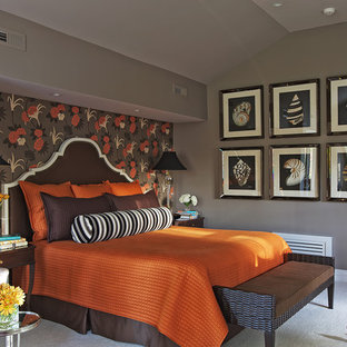 Transitional carpeted bedroom photo in New York with gray walls