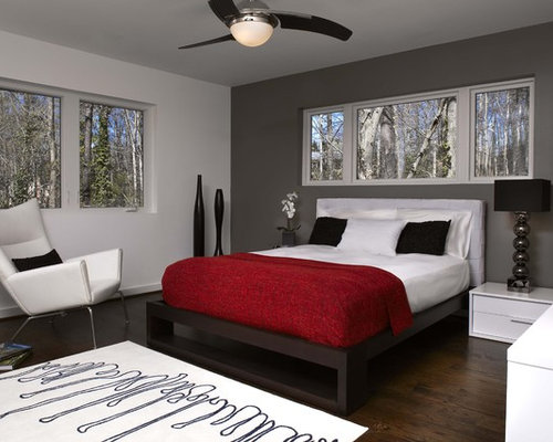 Gray walls and red accents ideas pictures remodel and decor for Black red and silver bedroom ideas