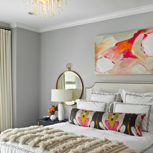 Inspiration for a transitional bedroom remodel in Chicago with gray walls