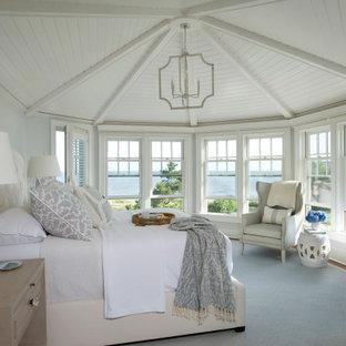 Идея дизайна: спальня в морском стиле с серыми стенами, паркетным полом среднего тона, коричневым полом, потолком из вагонки и сводчатым потолком
